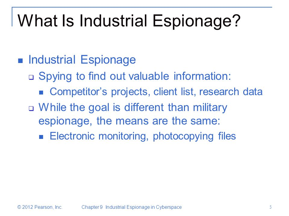 industrial espionage Chinese industrial espionage: technology acquisition and military modernization william c hannas, james mulvenon, and anna b puglisi (routledge, 2013), 378 pp .