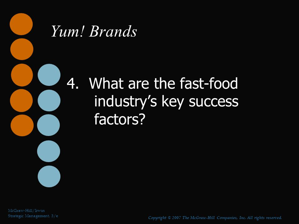 strategic management and fast food industry The great fast food challenge: by dr callum case in point: the fast food sector in fact, the fast food industry is probably responsible for today's proliferation of franchising were it not for the likes the above trends raise a number of challenges for chain management.