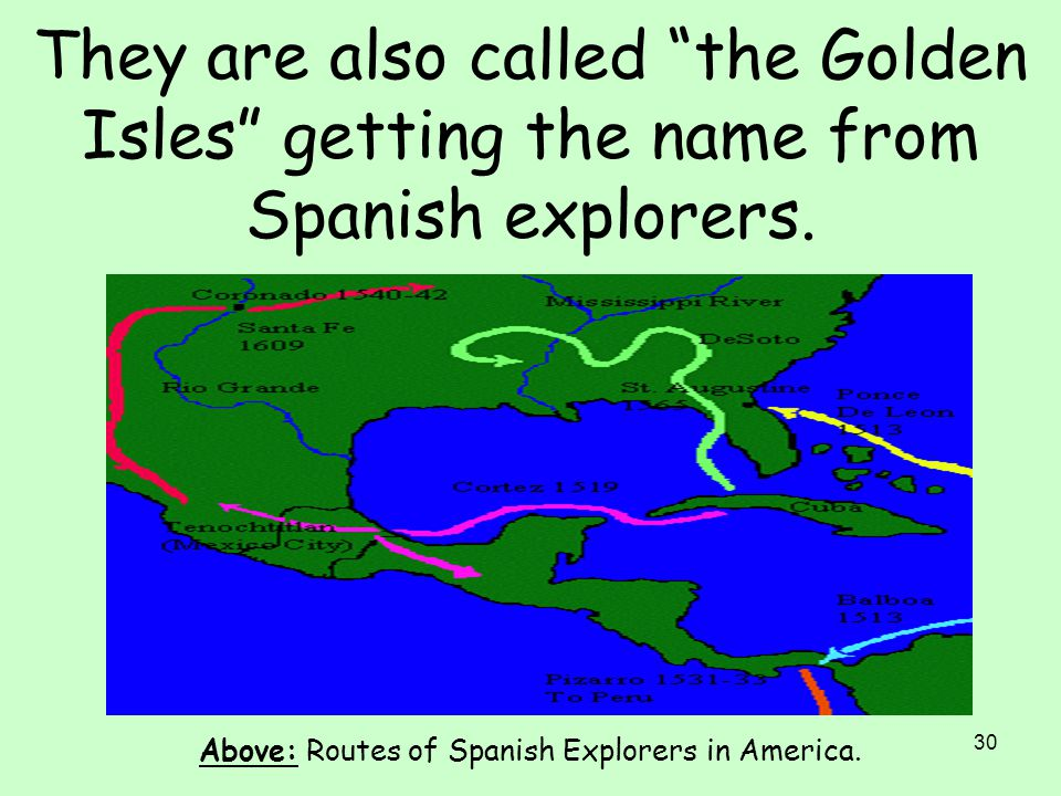 Above: Routes of Spanish Explorers in America.