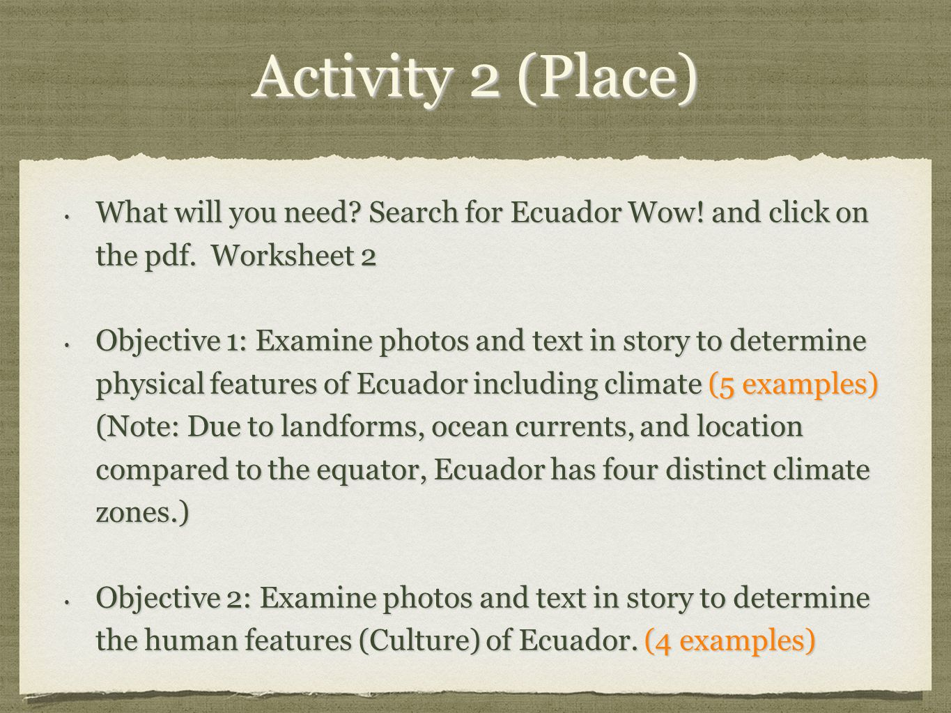 Worksheets 5 Themes Of Geography Worksheet 5 themes of geography ecuador ppt video online download 3 activity