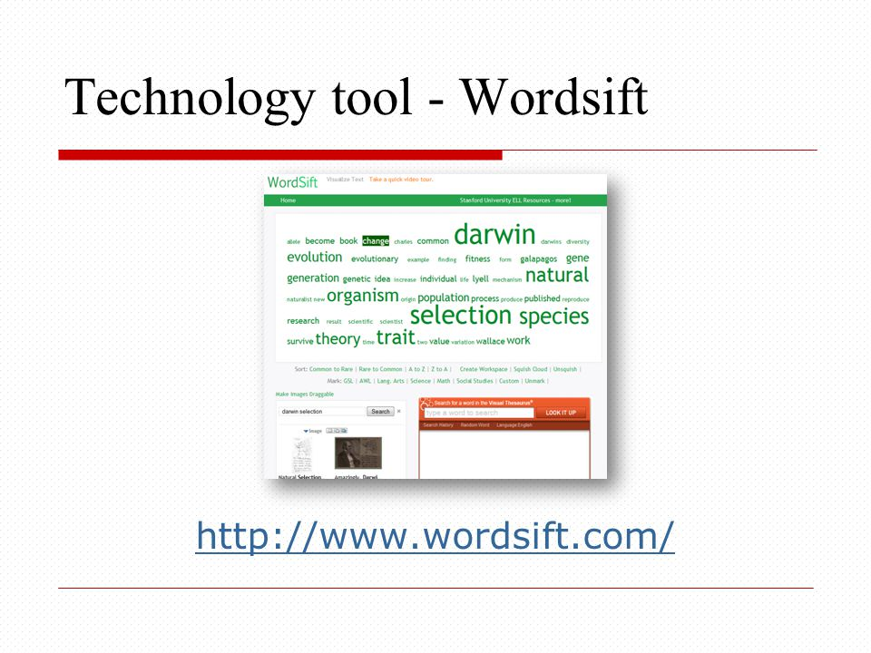 Technology tool - Wordsift