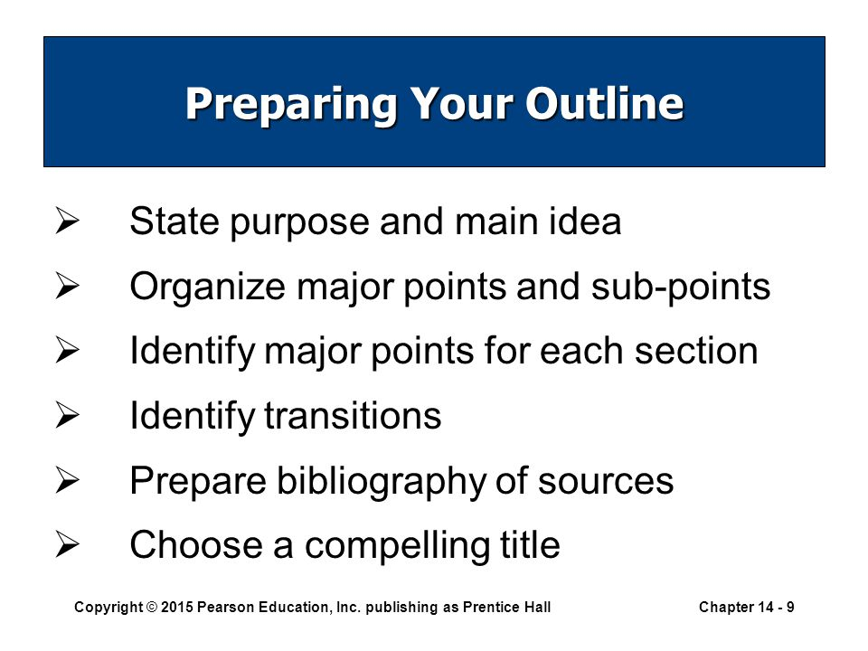 preparing and using outlines to organize your materials Creating outlines by kathleen lietzau  the purpose of an outline is to help organize a paper by checking to see if and how ideas connect to each other, or whether.