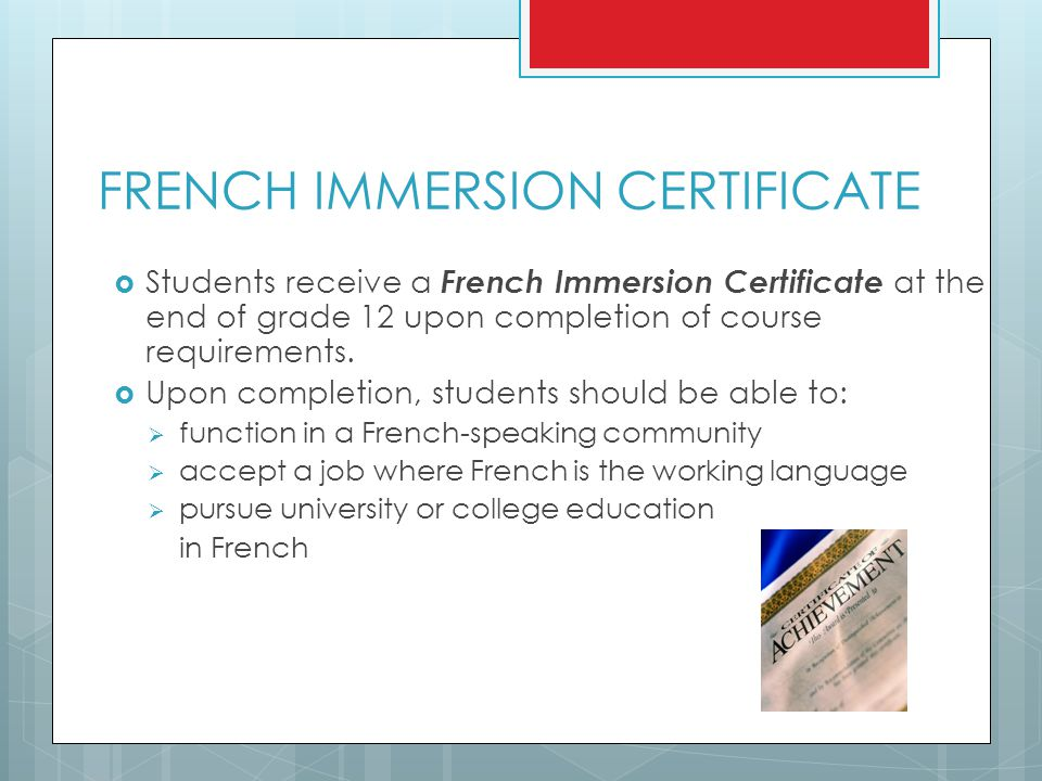 FRENCH IMMERSION CERTIFICATE