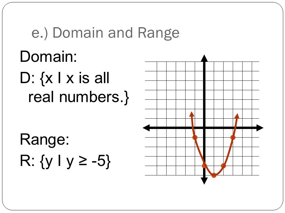 e.) Domain and Range Domain: D: {x I x is all real numbers.} Range: R: {y I y ≥ -5}