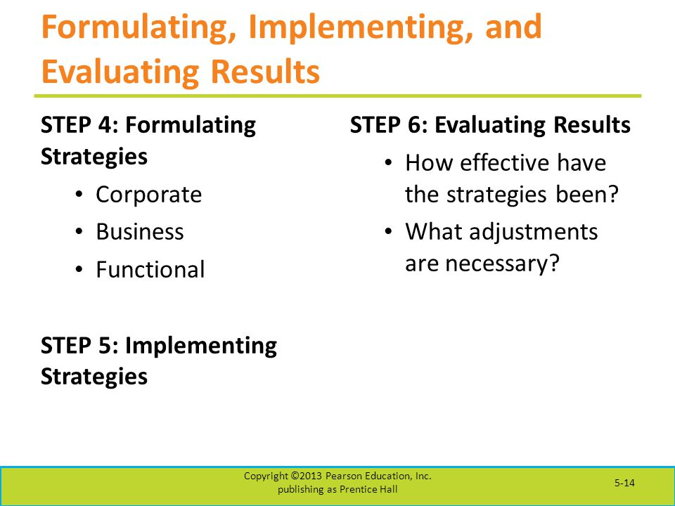 Formulating, Implementing, and Evaluating Results