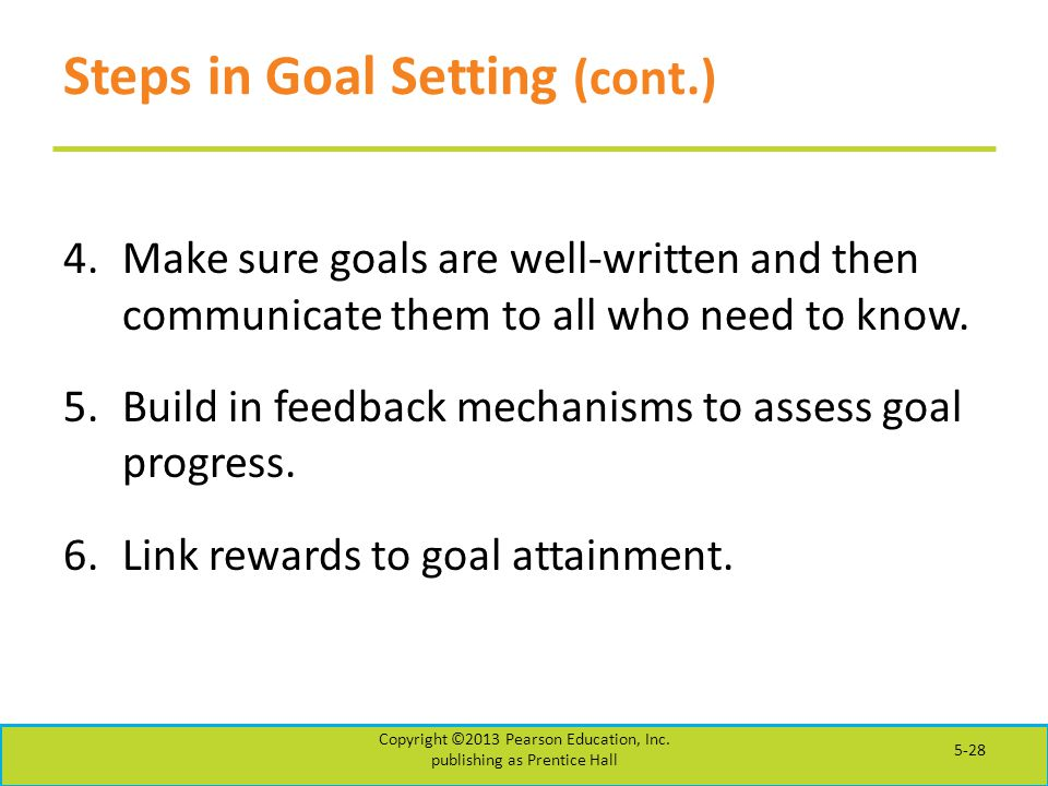 Steps in Goal Setting (cont.)