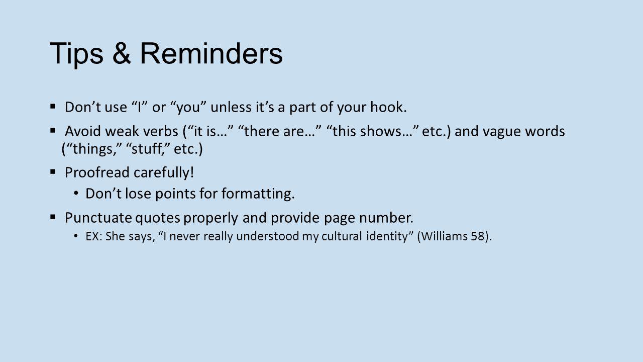 proofreading checklist essay