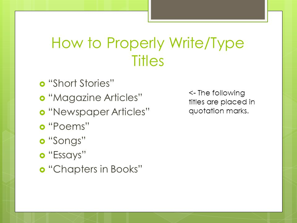 how to write book titles in an essay by jana sosnowski short stories and poems are noted within quotes apa style - Examples Of Titles For Essays
