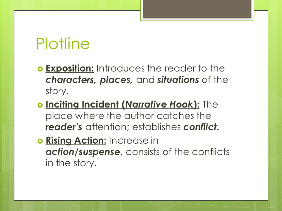 the external conflict of the story Stories use two types of conflict: internal and external internal conflicts are  resolved by something changing inside the character, whereas.