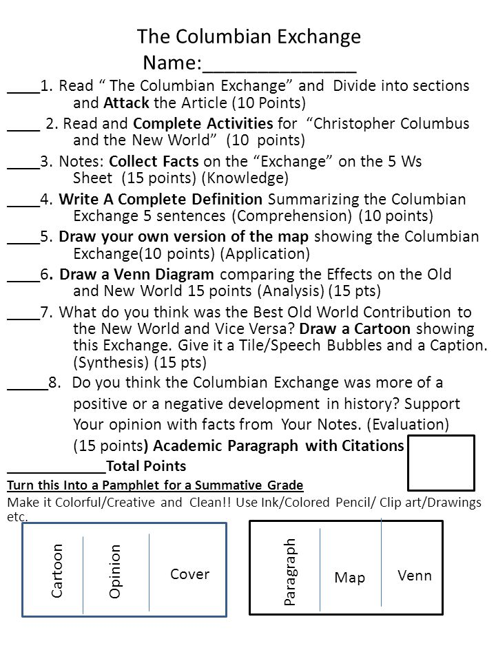 columbian exchange essay Free essay: the columbian exchange statistics by the numbers estimated population of europe in 1492: about 60 million estimated population of the americas in.
