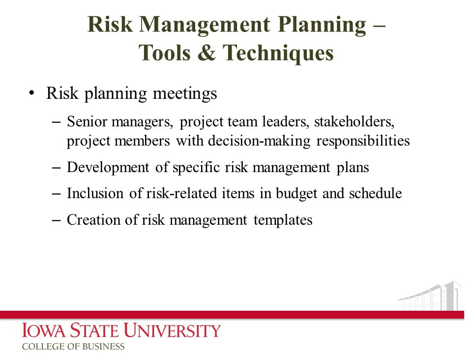 Risk Management Planning – Tools & Techniques