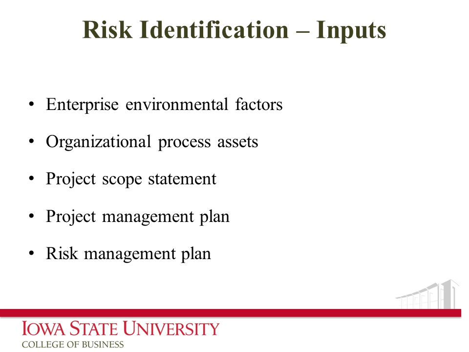 Risk Identification – Inputs