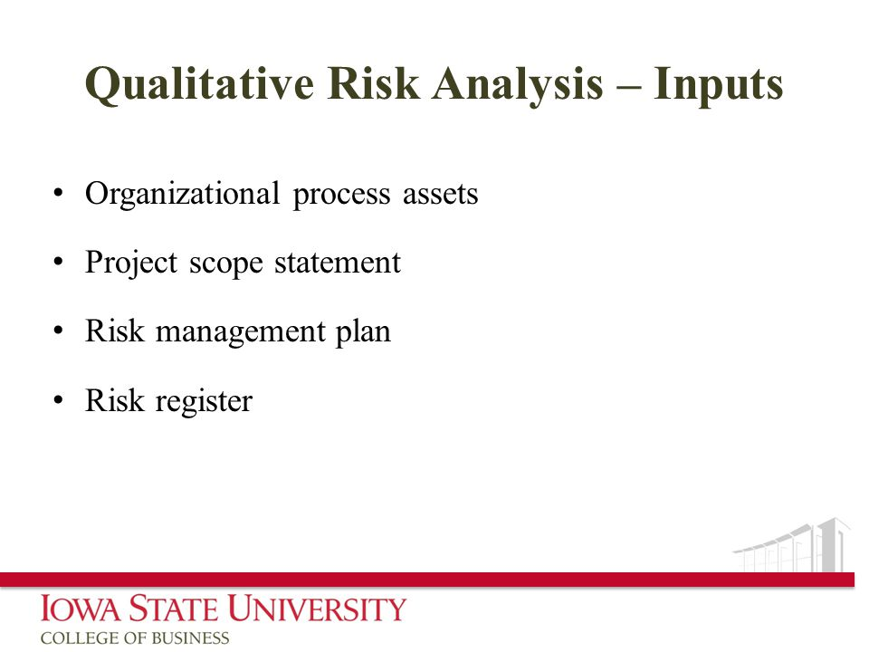 Qualitative Risk Analysis – Inputs