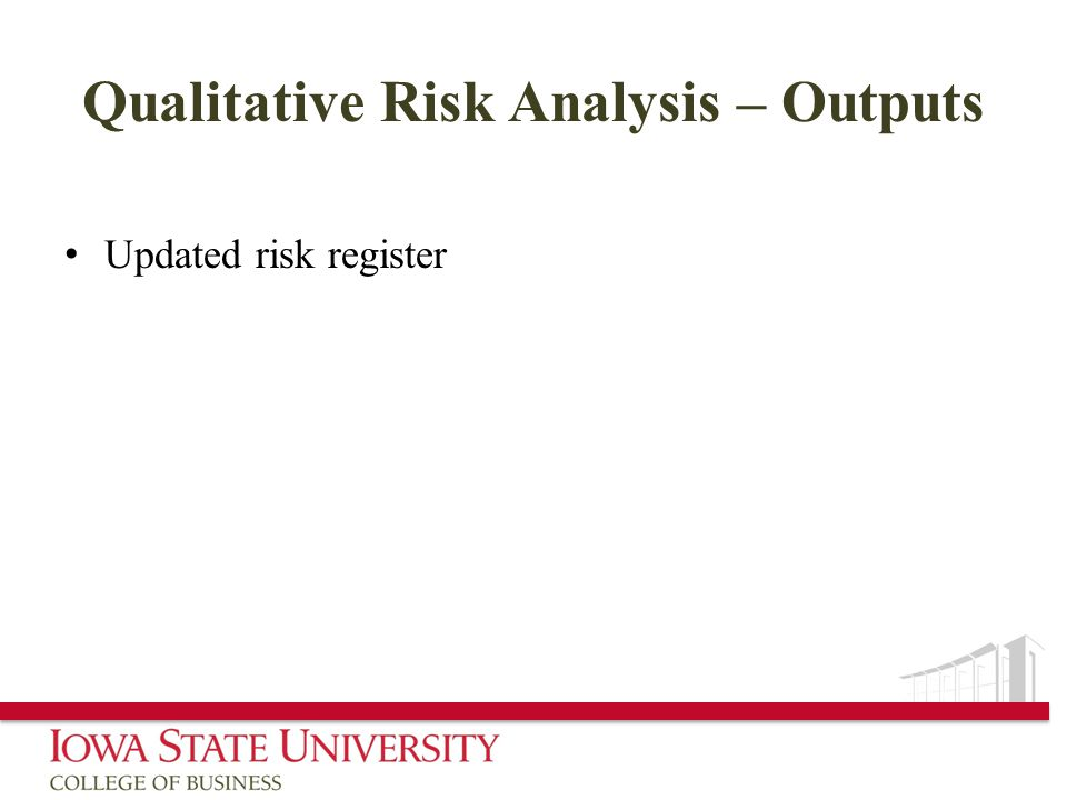 Qualitative Risk Analysis – Outputs