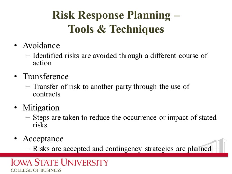 Risk Response Planning – Tools & Techniques