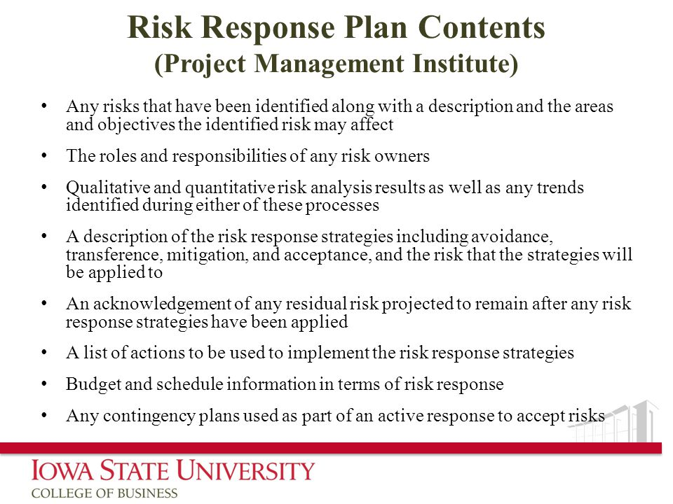Risk Response Plan Contents (Project Management Institute)