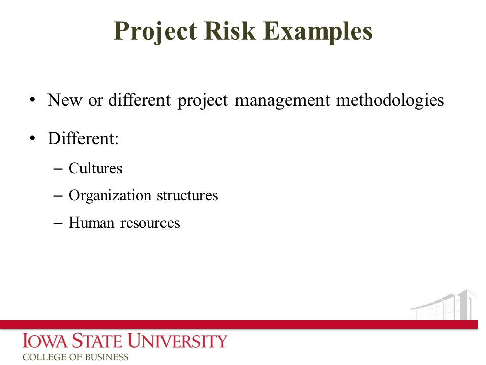 Project Risk Examples New or different project management methodologies. Different: Cultures. Organization structures.