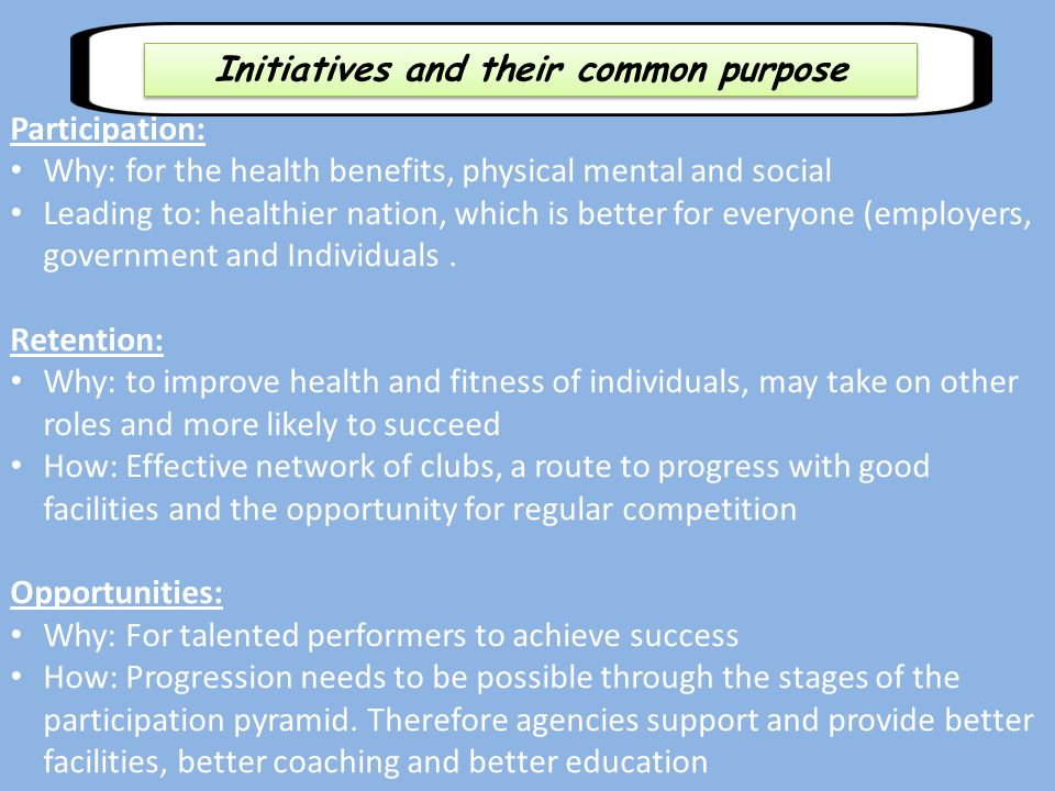 Initiatives and their common purpose