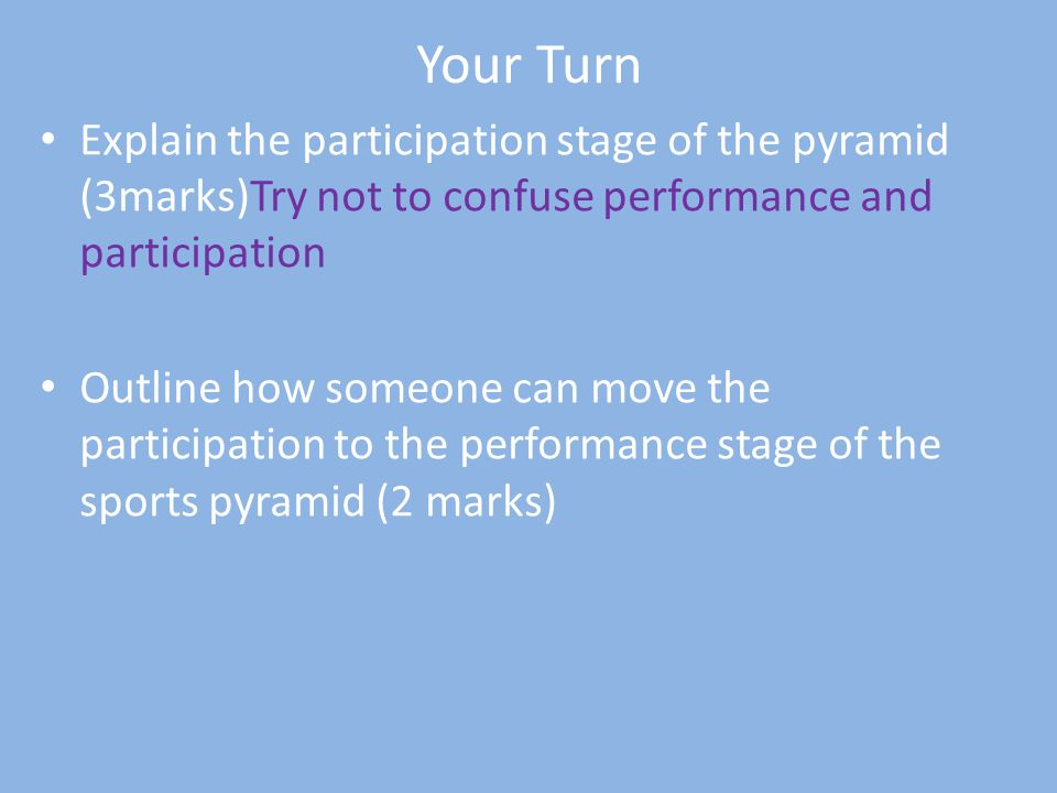 Your Turn Explain the participation stage of the pyramid (3marks)Try not to confuse performance and participation.