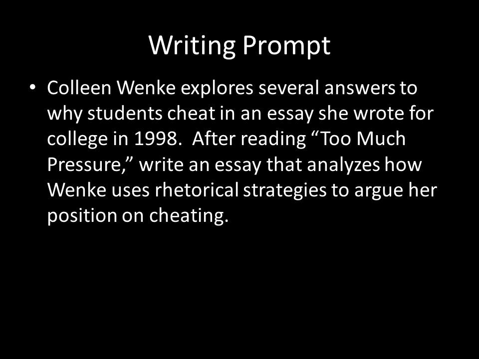 are students cheating due to pressure essay Get an answer for 'if a student is caught cheating on an exam go so far as to swear they don't know how that happened when the teacher has a copy of their word-for-word plagiarized essay attached to the original when someone is caught cheating in exams it can be due to many.