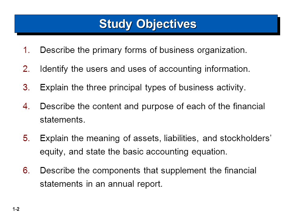 Study Objectives Describe the primary forms of business organization.