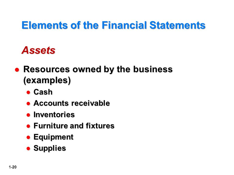 Elements of the Financial Statements Assets