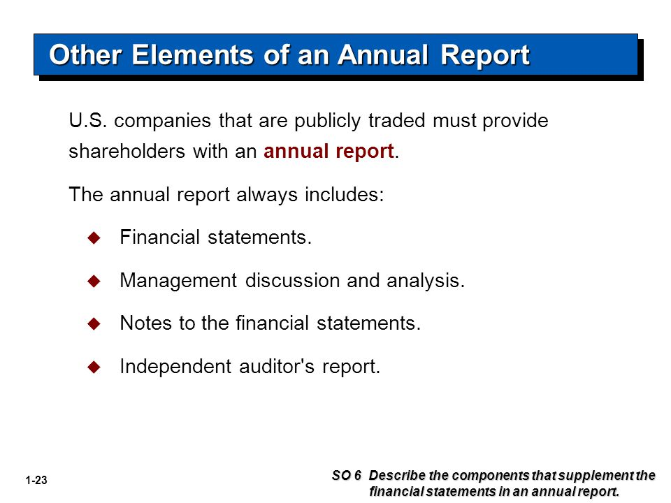 Other Elements of an Annual Report
