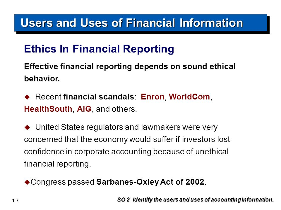 Users and Uses of Financial Information