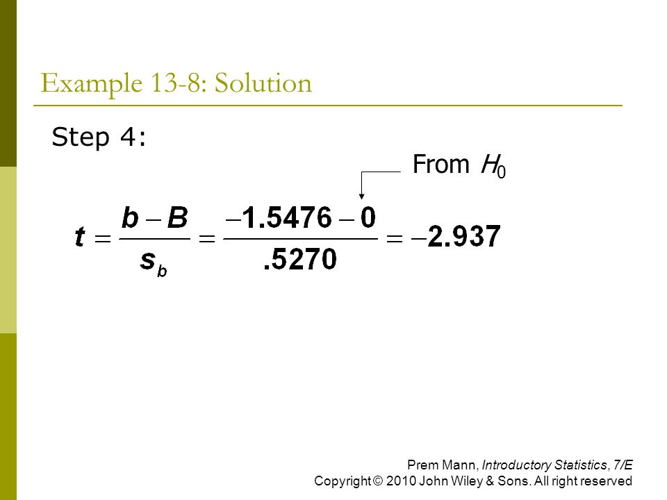 Example 13-8: Solution Step 4: From H0
