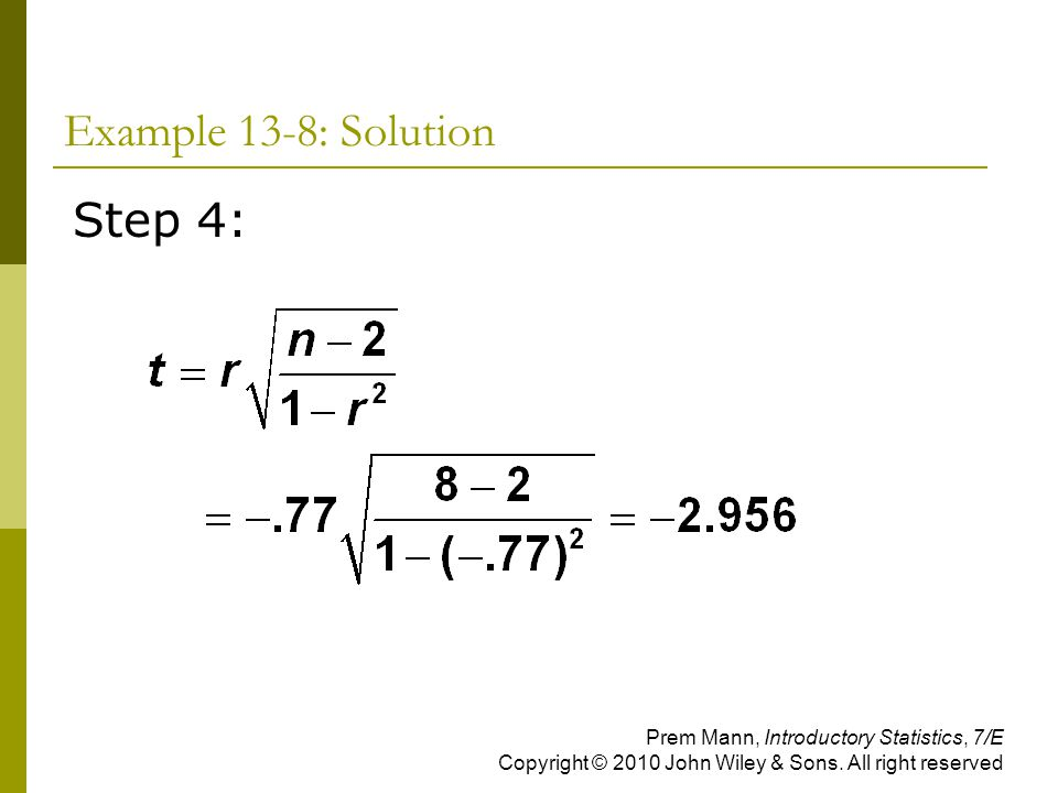Example 13-8: Solution Step 4: