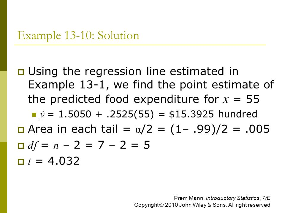 Example 13-10: Solution Using the regression line estimated in Example 13-1, we find the point estimate of the predicted food expenditure for x = 55.