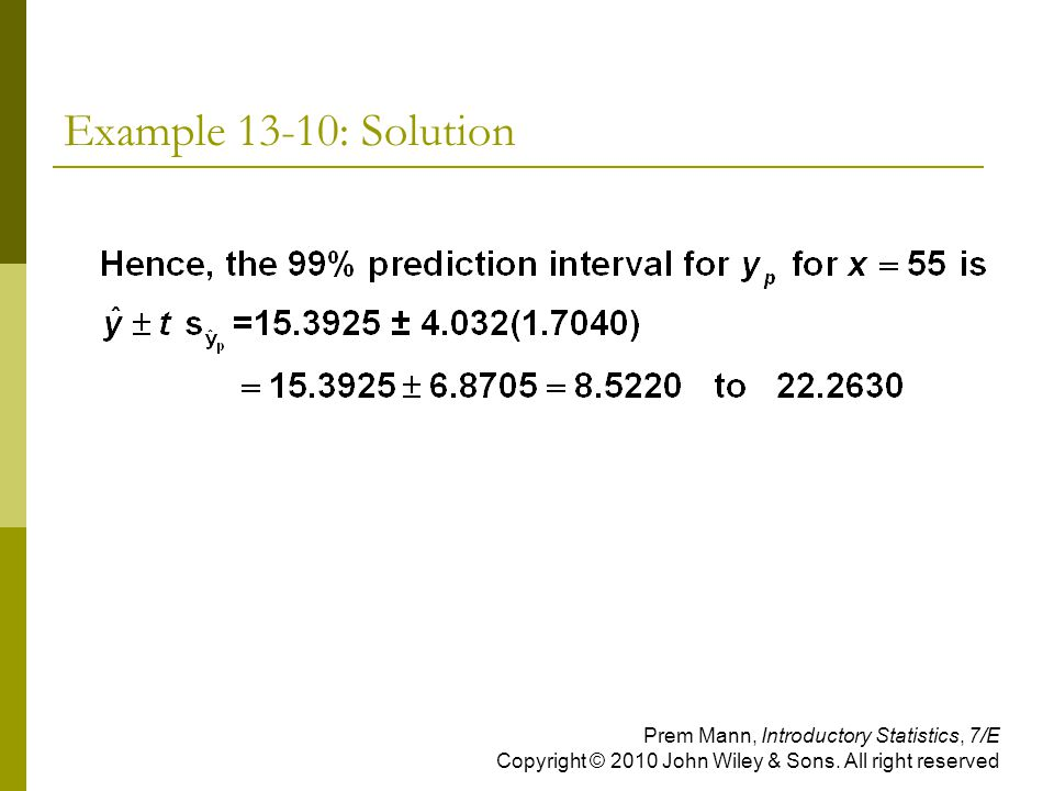 Example 13-10: Solution Prem Mann, Introductory Statistics, 7/E Copyright © 2010 John Wiley & Sons.