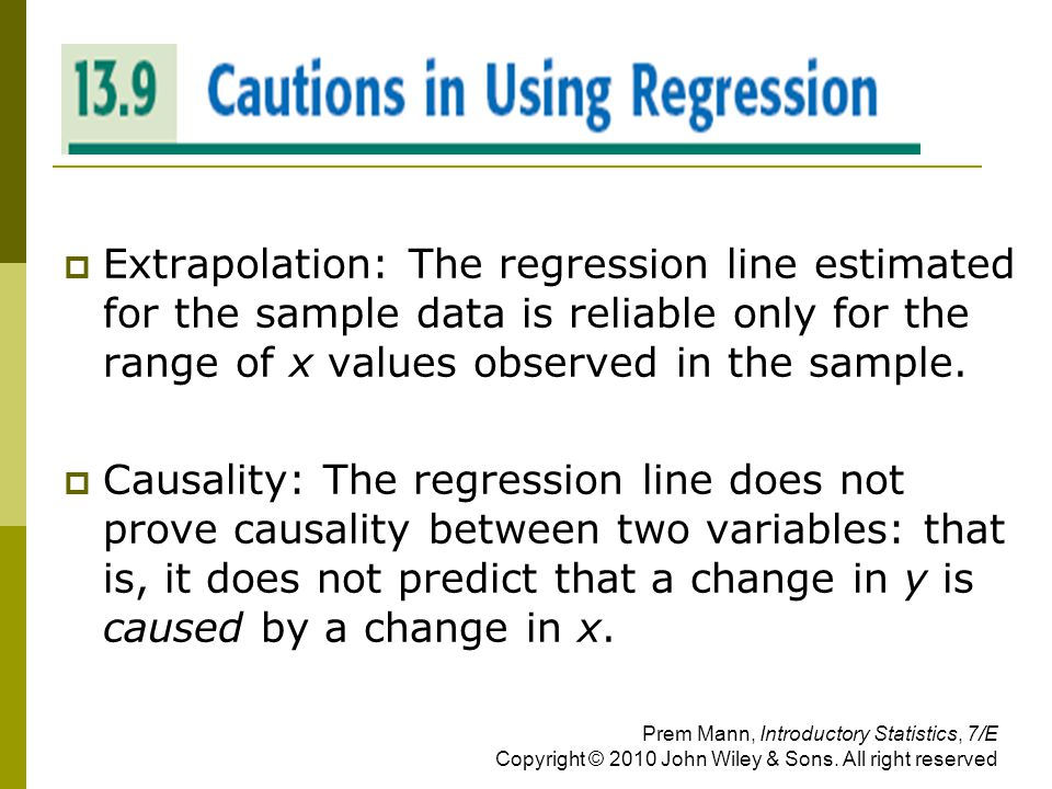 CAUTIONS IN USING REGRESSION