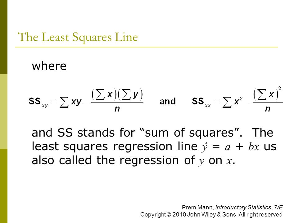 The Least Squares Line where
