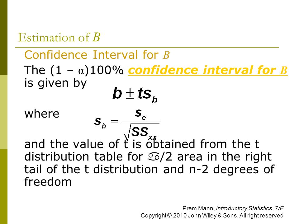 Estimation of B Confidence Interval for B