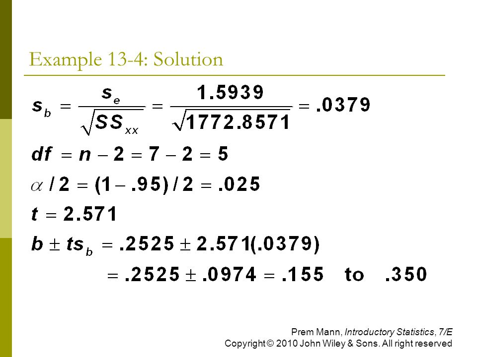 Example 13-4: Solution Prem Mann, Introductory Statistics, 7/E Copyright © 2010 John Wiley & Sons.