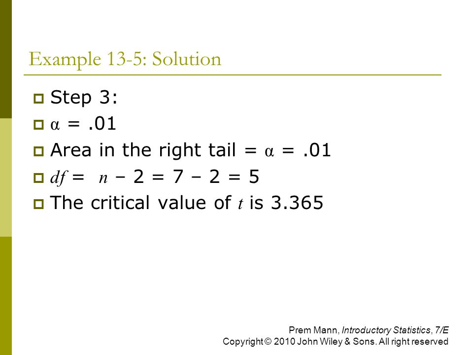 Example 13-5: Solution Step 3: α = .01