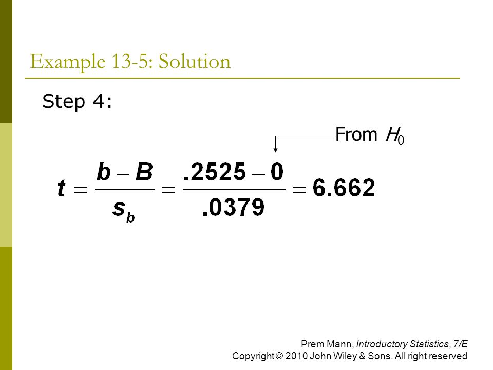 Example 13-5: Solution Step 4: From H0