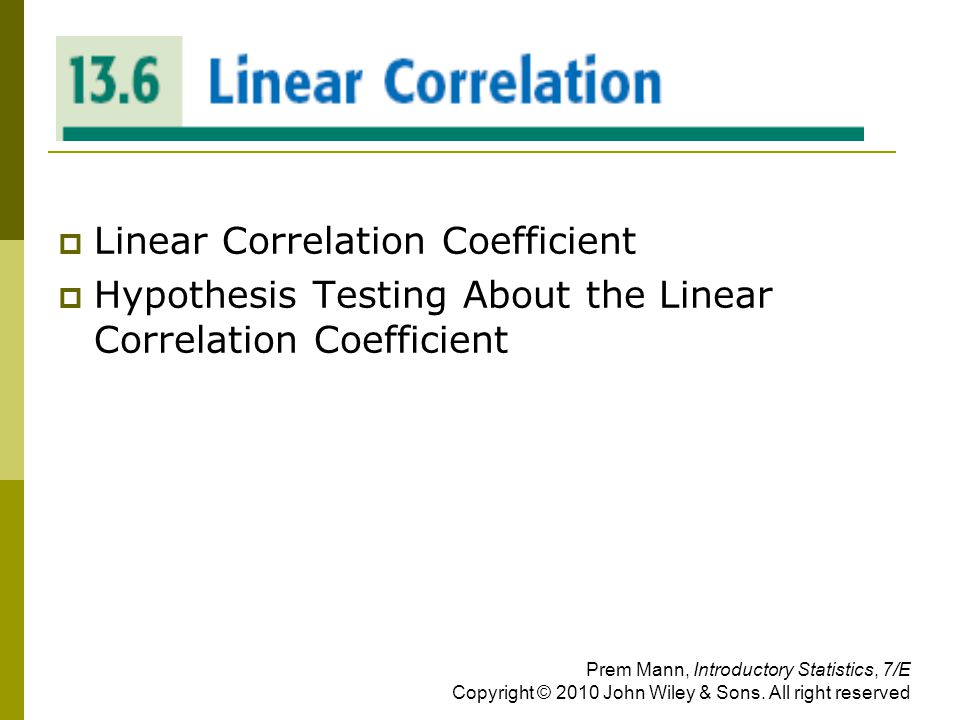 LINEAR CORRELATION Linear Correlation Coefficient