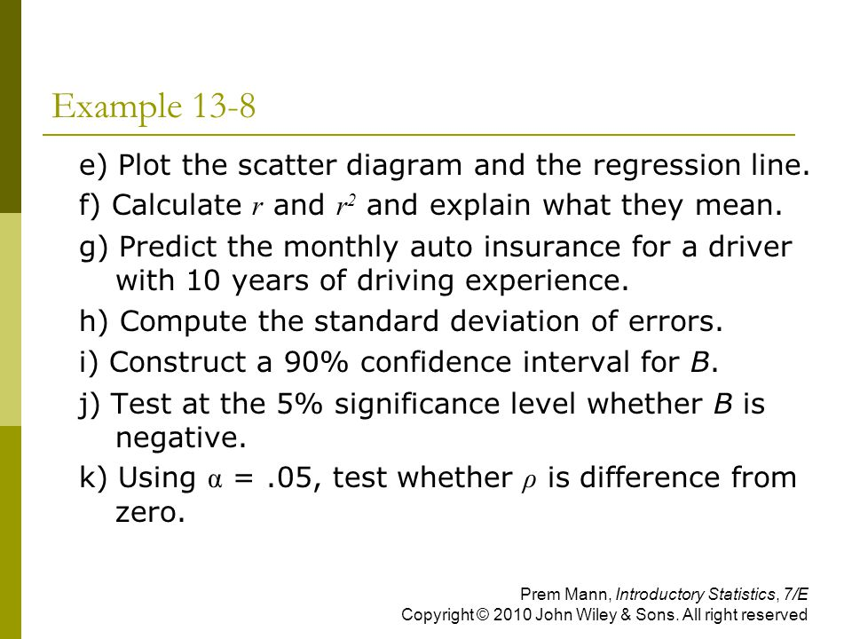 Example 13-8 e) Plot the scatter diagram and the regression line.
