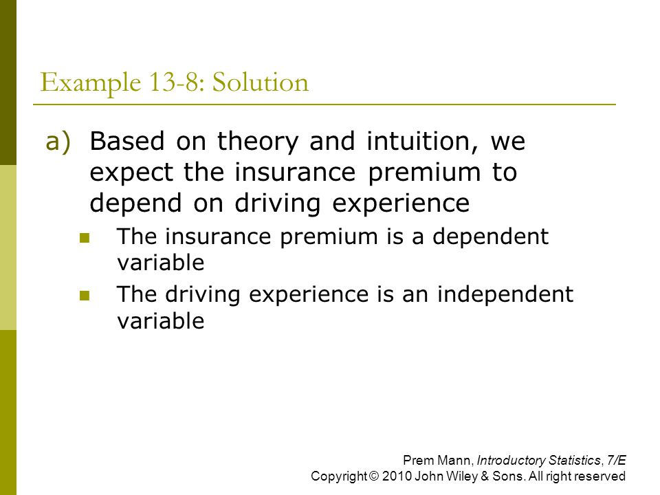 Example 13-8: Solution Based on theory and intuition, we expect the insurance premium to depend on driving experience.