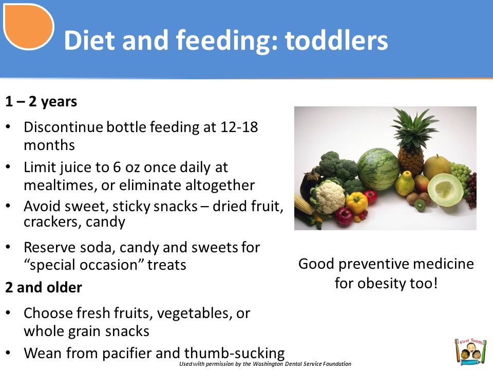 Diet and feeding: toddlers