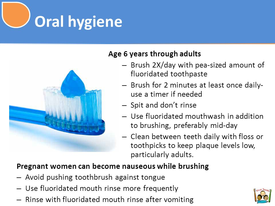 Oral hygiene Age 6 years through adults