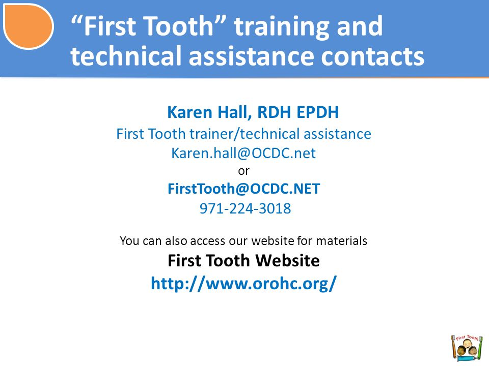 First Tooth training and technical assistance contacts