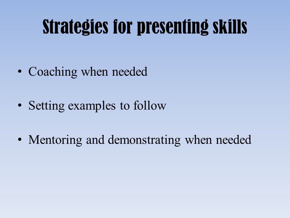 Strategies for presenting skills