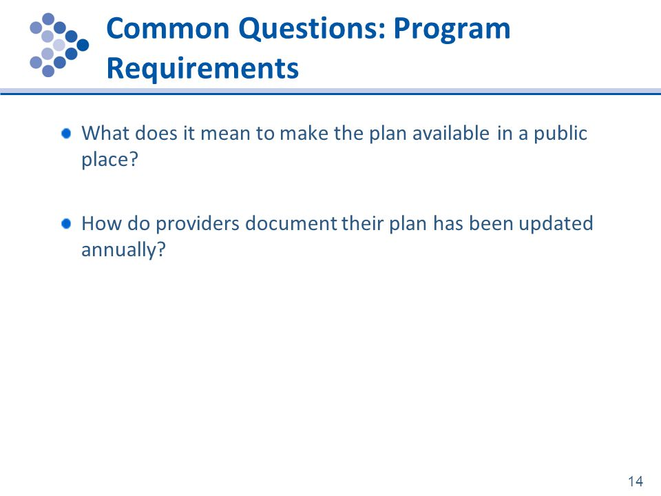 Common Questions: Program Requirements