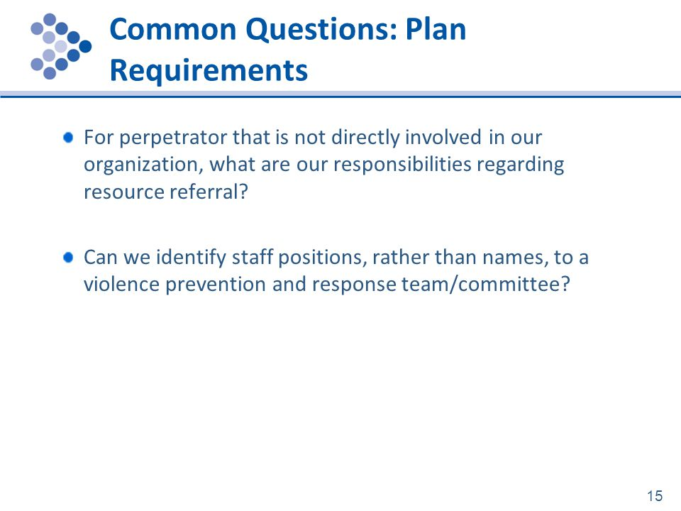 Common Questions: Plan Requirements