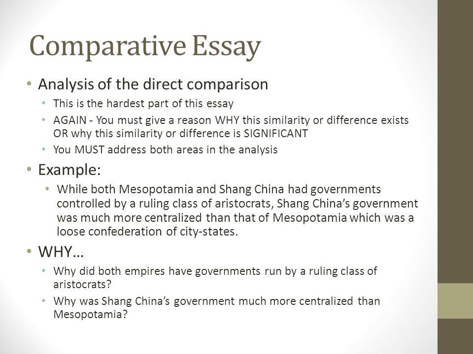 comparative analysis essay definition Definition of comparative analysis: the item-by-item comparison of two or more comparable alternatives, processes, products, qualifications, sets of data,.