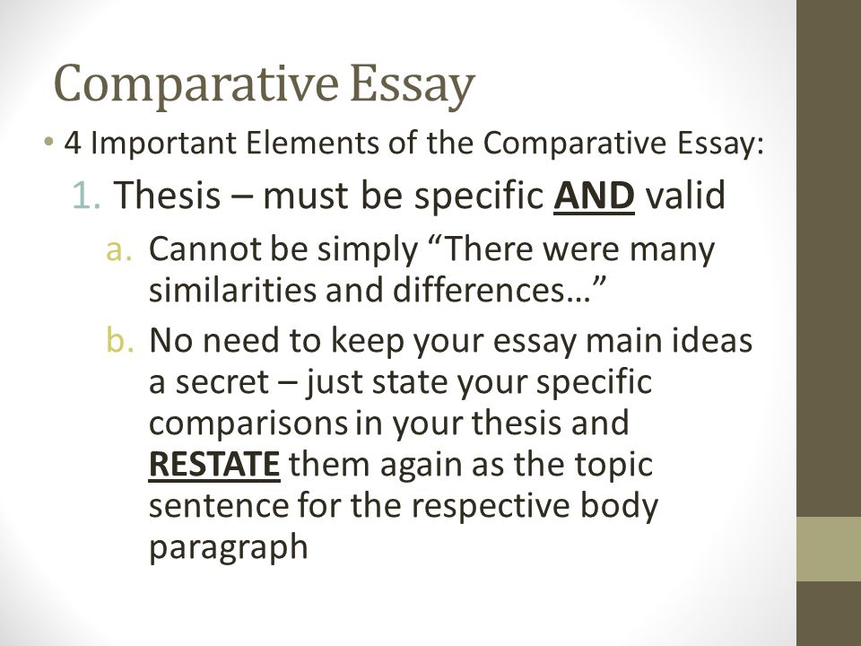 How to Write a Comparative Master's Thesis Essay