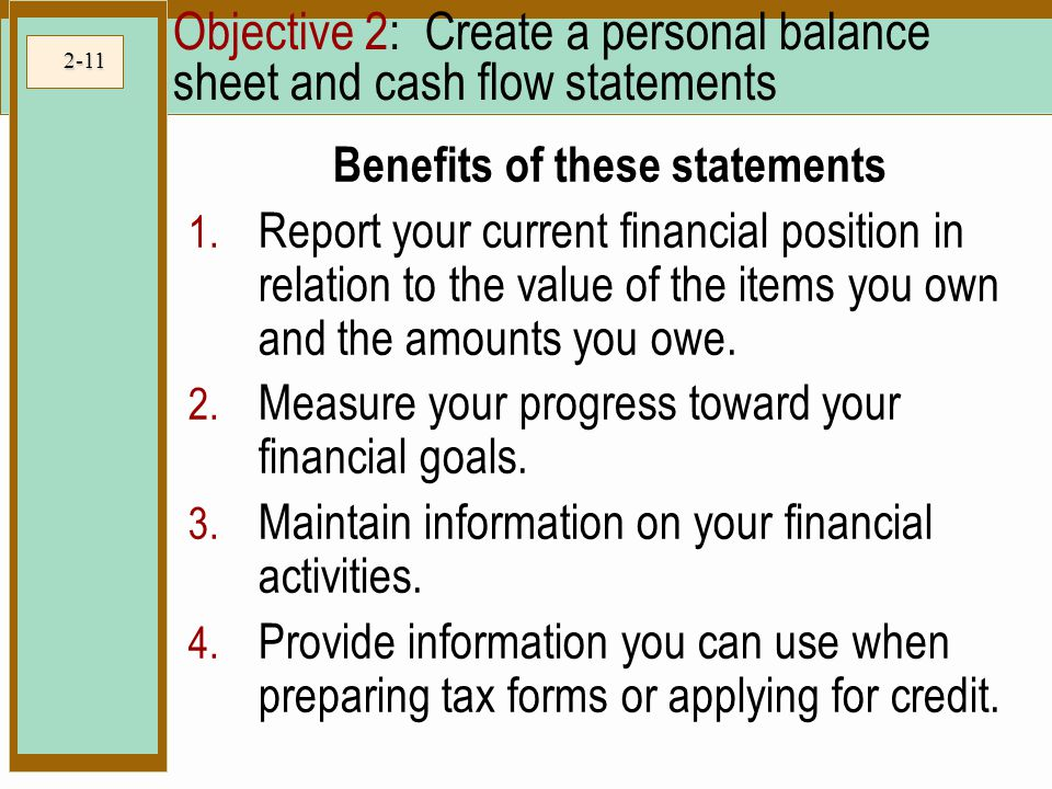 Objective 2: Create a personal balance sheet and cash flow statements